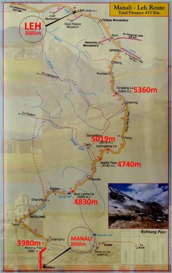 Карта путешествия от Леха до Манали